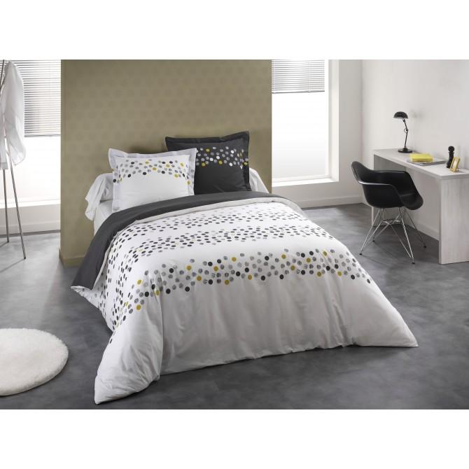 Parure de lit confetti blanc for Parure de lit 240x260 blanc